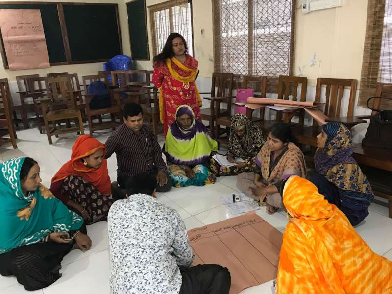 Group training activity - part of a UN Women disaster and climate project, Bangladesh