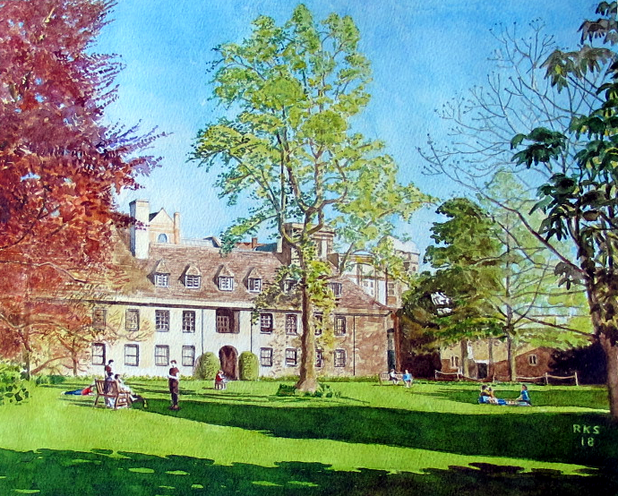 A view of Worcester College, Oxford, across the lawns