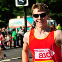 Christian Aid runner Jamie takes part in the Great North Run