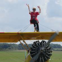 Lesley Williams did a wingwalk in support of Christian Aid