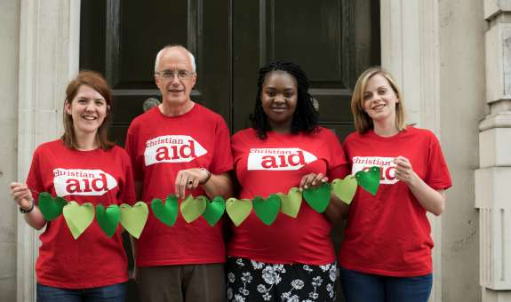 Christian Aid climate change campaigners outside 10 Downing Street