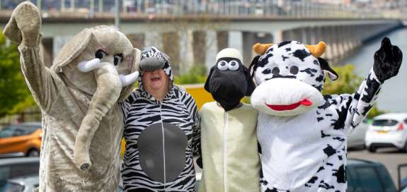 Supporters in fancy dress for Christian Aid at the Tay Bridge Cross fundraising event