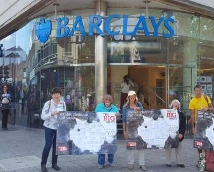 Campaigners outside Barclays bank