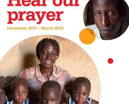 Front cover of Prayer Diary featuring a woman and three children and the words 'Hear our prayer'