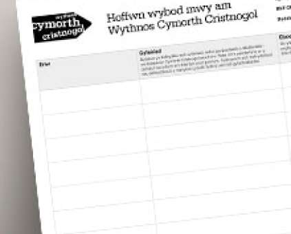 Events sign-up sheet thumbnail - Welsh
