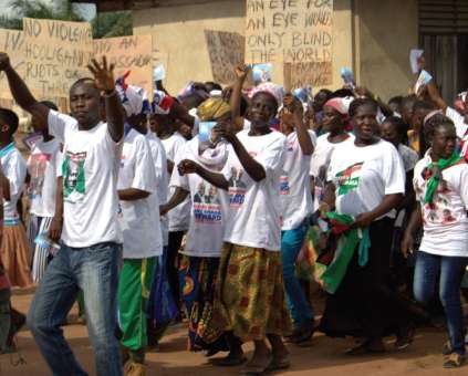 Marching for peace in Donkorkrom in the Kwahu Afram Plains, North District
