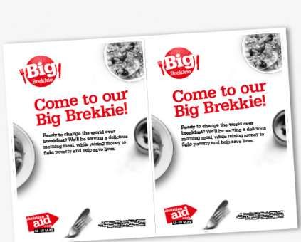 A black and white version of the Big Brekkie editable flyer
