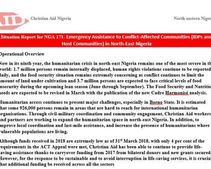 Situation report on conflict-affected IDPs in NE Nigeria