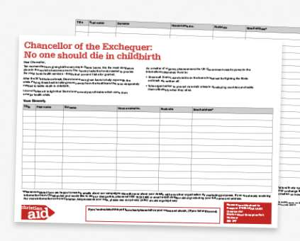 Christian Aid Week campaign petition sheet thumbnail