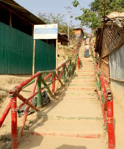A newly renovated staircase in a Rohingya refugee camp, Cox's Bazar, Bangladesh