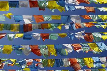 Nepal prayer flags swaying in the wind
