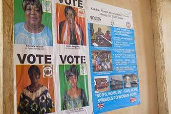 Election posters for women candidates, as councillors and MPs, in Sierra Leone.