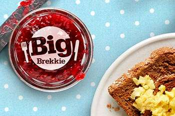 Scrambled egg on toast next to the Big Brekkie logo