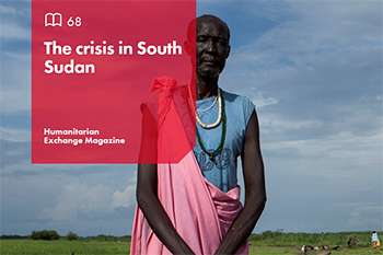The front cover of Humanitarian Exchange Magazine: The crisis in South Sudan