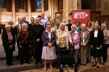 Bishop of Chichester with Sussex Christian Aid Week Diamonds