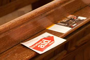 Christian Aid leaflets in church