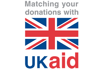 UK aid logo which reads: Matching your donations with UK aid