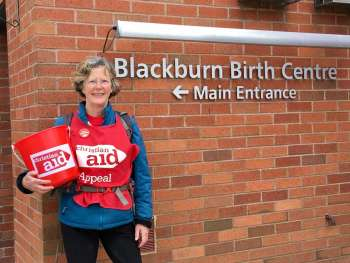 Clare Hyde outside maternity hosptial in Lancashire