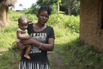 Tenneh and her baby in Sierra Leone
