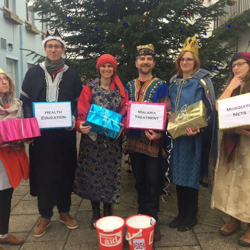 Christian Aid's South West team dressed in Christmas fancy dress