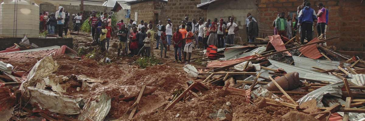 Devastation caused by flooding and mudslides in Freetown, Sierra Leone