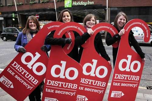 Christian Aid tax campaigners outside Holiday Inn in London in 2011.