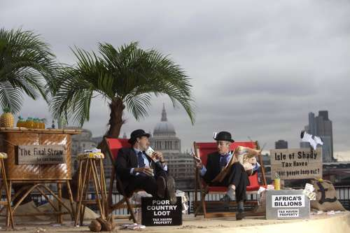 Campaigners on the Isle of Shady, on London's Southbank, drawing attention to the billions that Africa loses to tax dodging.