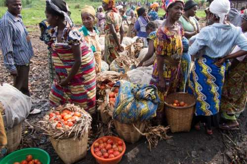 Congolese women selling produce at market
