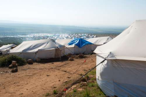 Shelters in a refugee camp