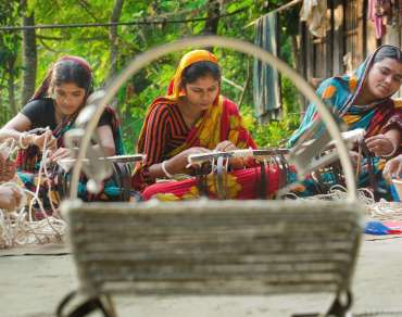 Bangladesh women basket-weaving