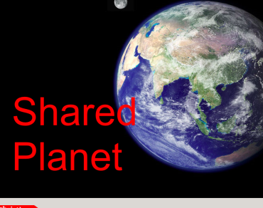 Black background with a shot of planet earth and the words 'Shared planet'