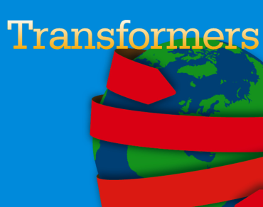 A blue graphic showing an image of Earth with the wording 'Transformers'