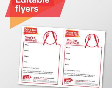 Editable flyers - dine with Christian Aid