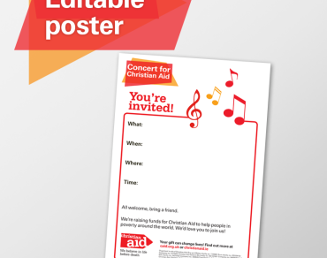 Editable poster concert for Christian Aid