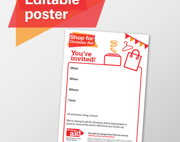 Editable poster shop for Christian Aid