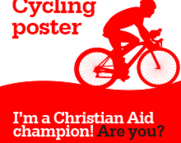 Cycling poster: I'm a Christian Aid champion! Are you?