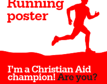 Running poster: I'm a Christian Aid champion! Are you?