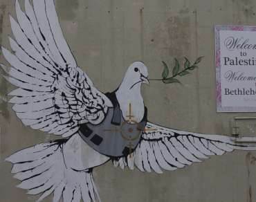 Graffiti artist Banksy's Armoured Peace Dove in Bethlehem.