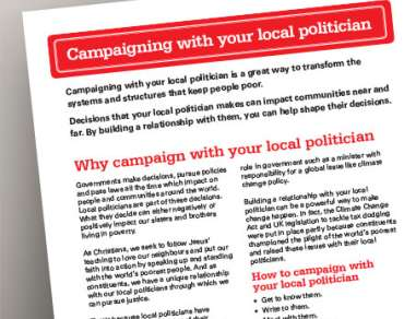 Screenshot of campaigning with your local politician guide