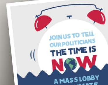 Spread the word about The Time Is Now with this flyer on the climate change mass lobby.