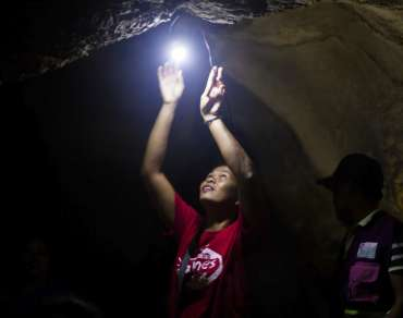 Sheltering from Typhoon Haiyan in cave
