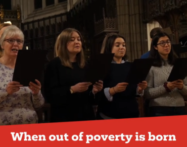 Christian Aid choir sings Christmas Appeal carol