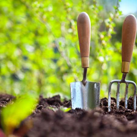 Fork and trowel standing up in soil
