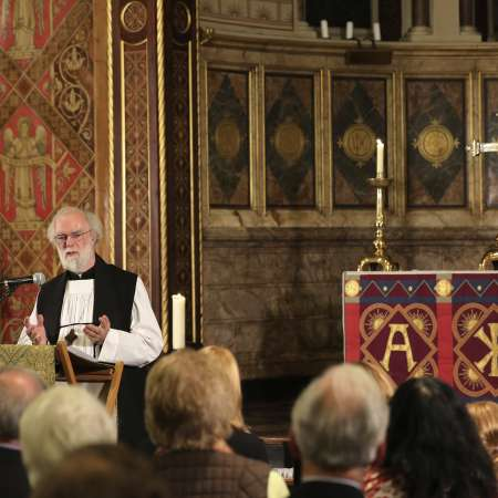 Dr Rowan Williams leading a service of Thanksgiving at King's College