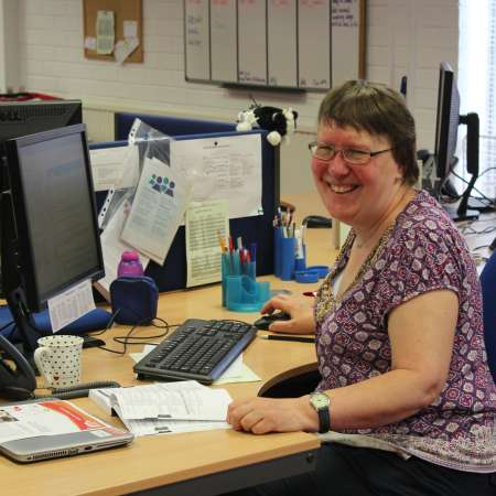 Liz Gwynne, a volunteer in a Christian Aid regional office