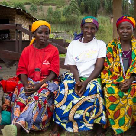Women coffee farmers who have benefitted from selling coffee at the cooperative coffee washing station in Kayanza