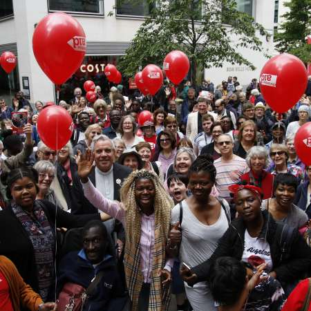 A large group of Christian Aid supporters at the Circle the City event