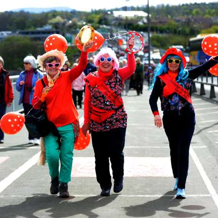 Forth Bridge Cross walkers in fancy dress