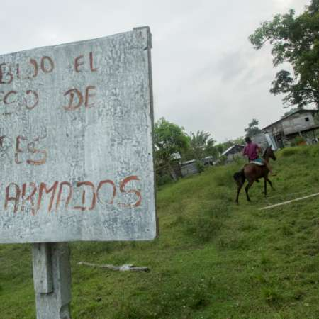 Humanitarian Zone signboard, Colombia
