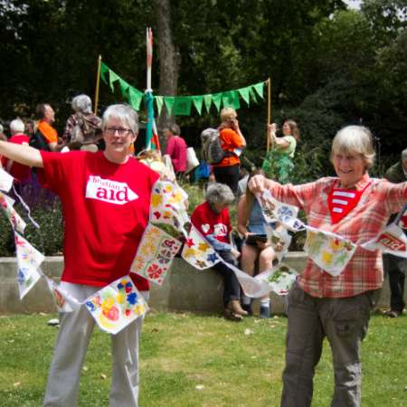 Christian Aid supporters with bunting